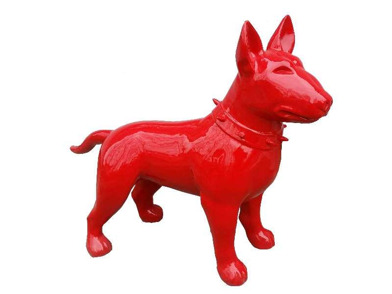 Deko Bullterier in rot
