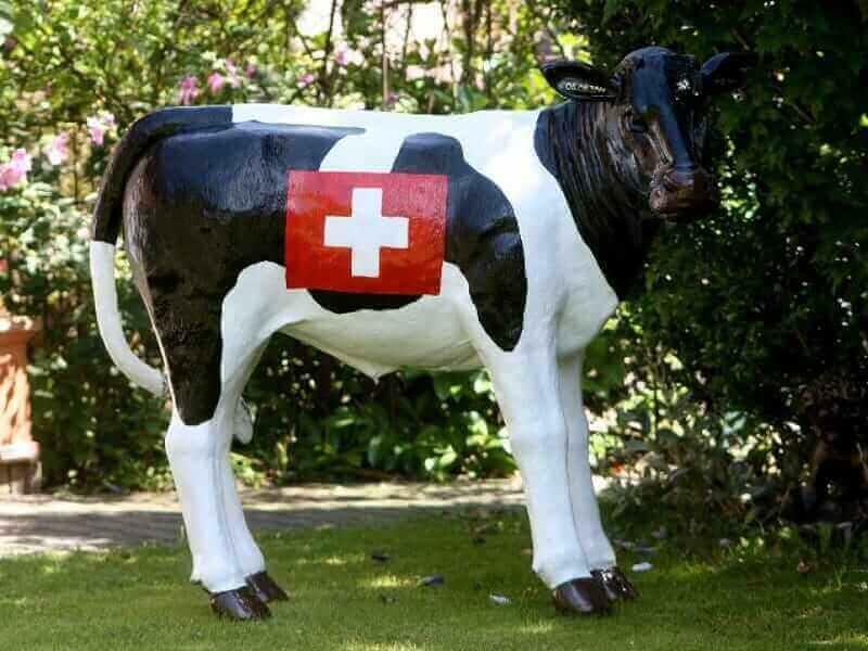 Lebensgrosses Schweizer Deko Kalb