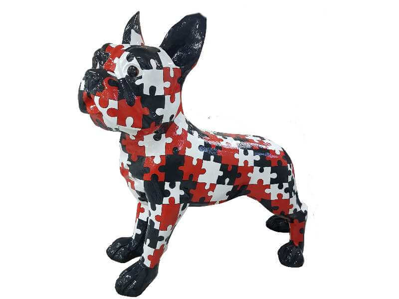 Riesige franzoesische Bulldogge im Puzzle Design